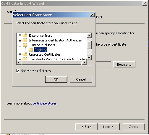 Install test-signing certificate